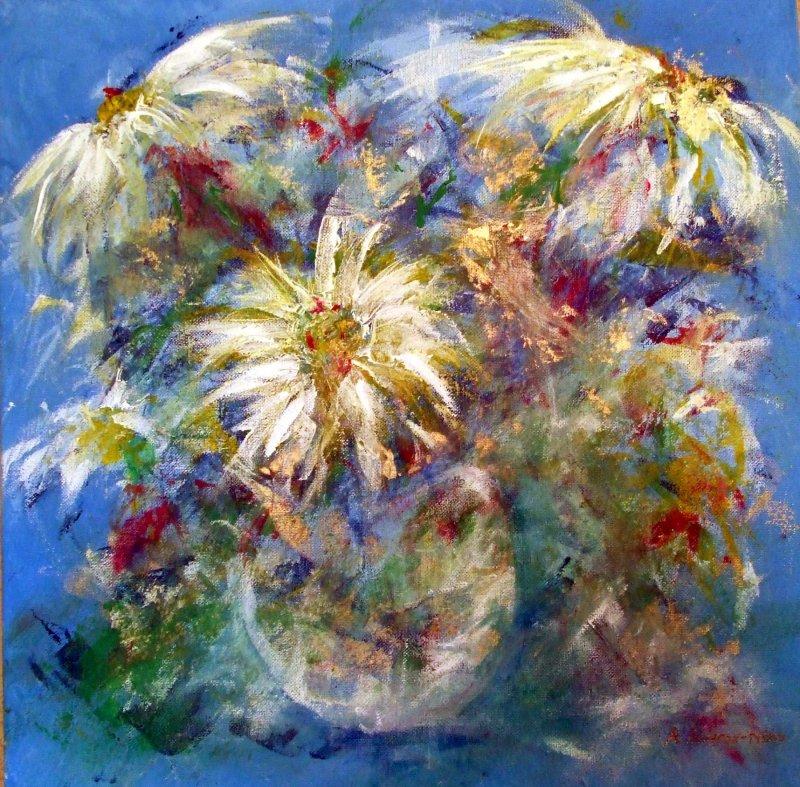White Daisys In white Vase - SOLD
